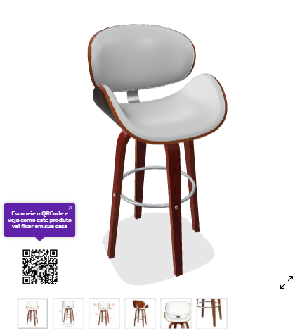 A screenshot shows a 3D representation of a bench showed in an e-commerce store with a QR Code that allows customers to visualize it in their spaces using Augmented Reality. Available in: Mobly.com.br