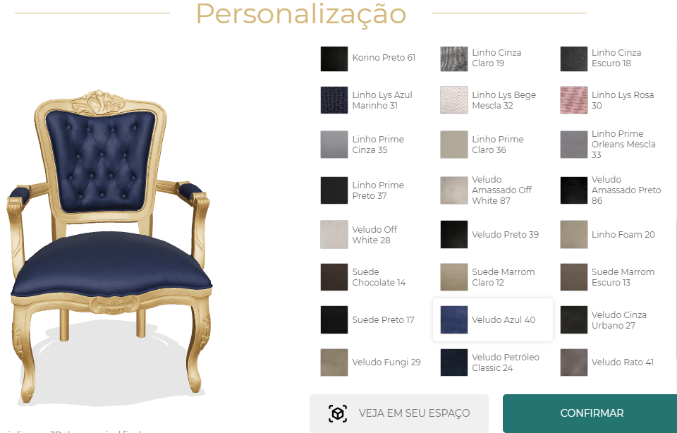 printscreen of Wood Prime's website, showing the Personalizator feature, that allows user to select components of a furniture before visualizaing it in the real space with Augmented Reality