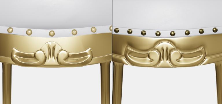 Comparação entre dois móveis: o da direita traz melhor detalhamento do entalhe e forro comparado ao modelo 3D da esquerda.